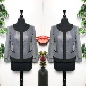 Ann Taylor Black White Blazer Jacket Size 10P